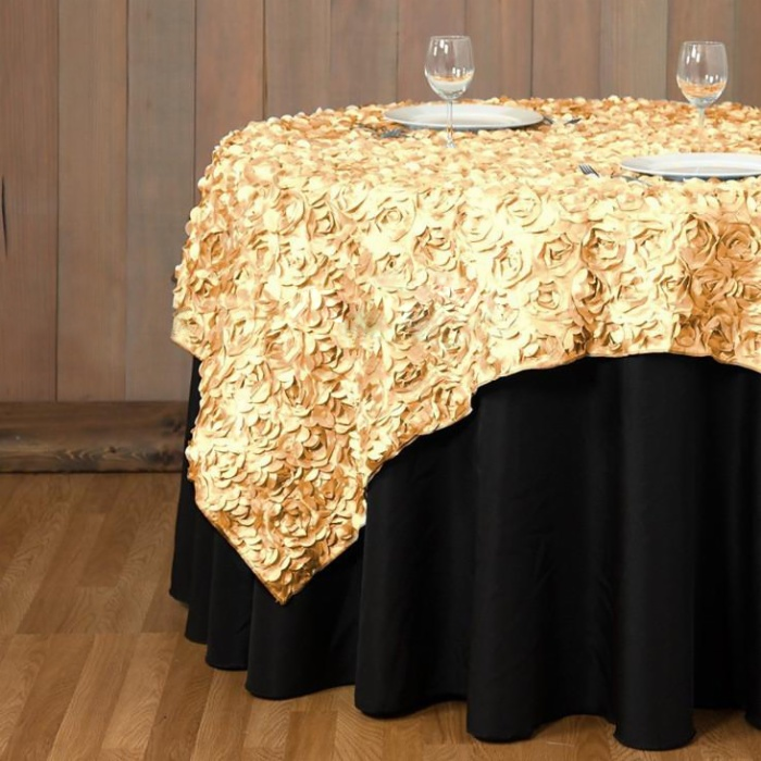 Factory wholesale round satin rosette embroidery table overlay