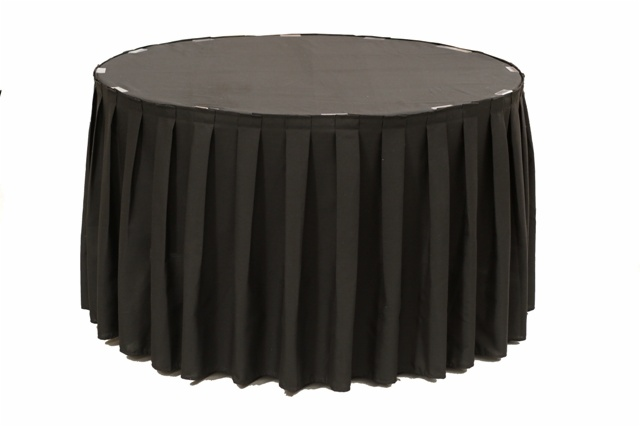 Box Pleated Spun Polyester Table Skirting Designs And Procedures
