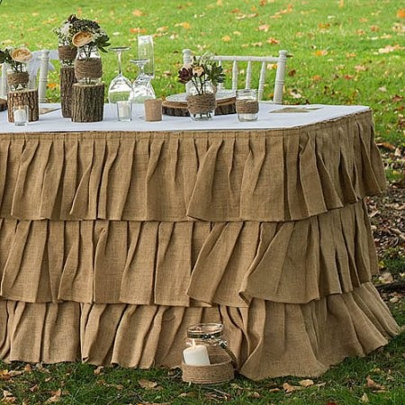 Customized Three Tier Ruffled Burlap Table Skirt