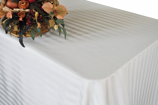 Striped Jacquard Poly Rectangle Tablecloth