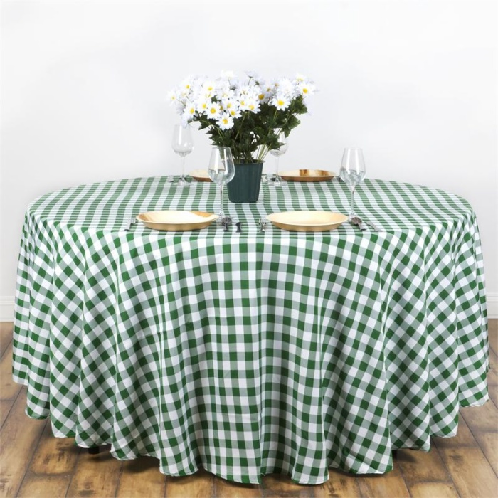 Checkered Poly Round Tablecloth