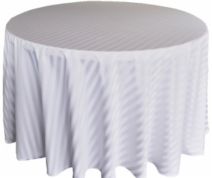 Fancy 120''R Polyester Stripped White Jacquard Tablecloth Round