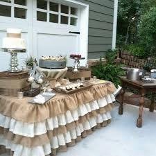 Three Tier Ruffled Burlap Table Skirt
