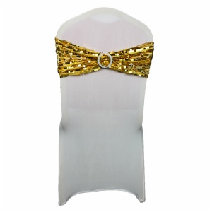 Wholesale cheap rose gold sequin spandex wedding chair sashes