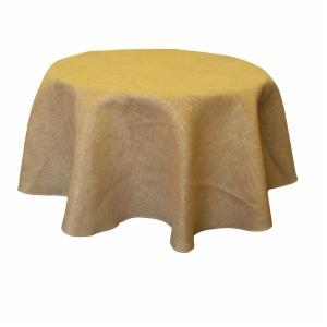 Customize Jute Burlap Round Tablecloth
