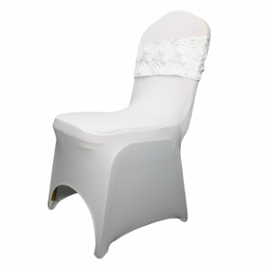 Cheap white polyester spandex banquet flower rosette chair cover sashes wedding