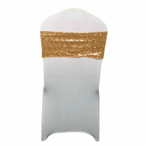 Wholesale rose gold sequin spandex party wedding chair sashes bands wedding decoration