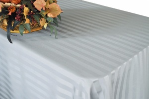 Polyester Jacquard Strip Rectangle Ivory Tablecloth