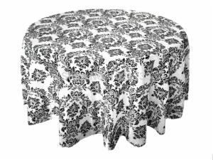 Taffeta Round Damask Flocking Table Cloth