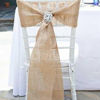 burlap chair sashes wedding