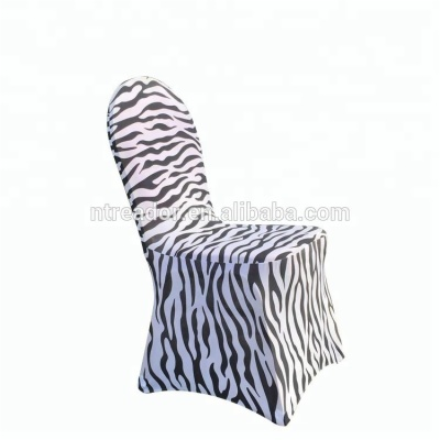 Cheap Zebra Stripes Dining Banquet Wedding Spandex Chair Covers Factory