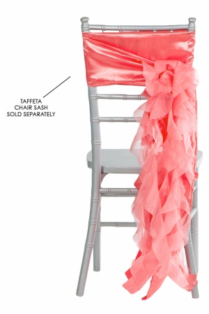 China suppliers wedding taffeta ruffled curly willow organza satin chair sash tie chair decoration sashes