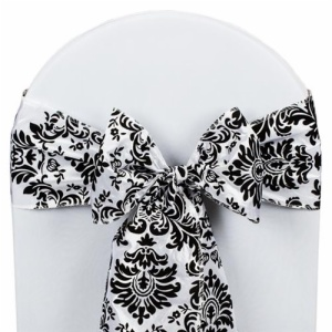 Black And White Damask Chair Sashes