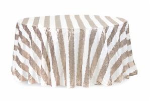 Round Customize Stripe Glitz Sequin Tablecloth