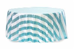 Round Customize Stripe Sequin Tablecloth