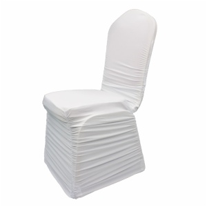 Wholesale polyester white banquet stretch spandex ruched chair covers wedding