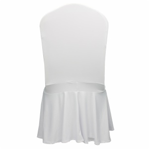 Wholesale polyester white stretch spandex ruffled banquet wedding chair cover