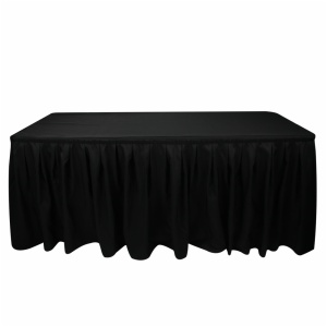 Fancy rectangle black wedding ruffled curly willow polyester table skirt for banquet