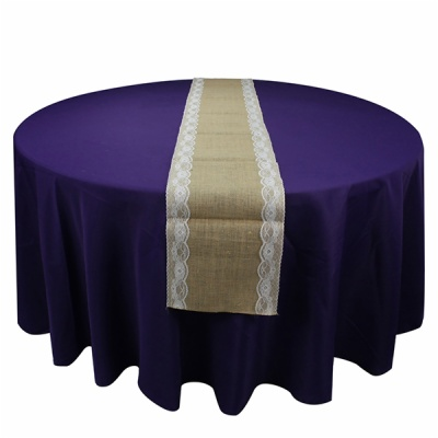 burlap woven flower lace embroidered printed wedding table runner fabric