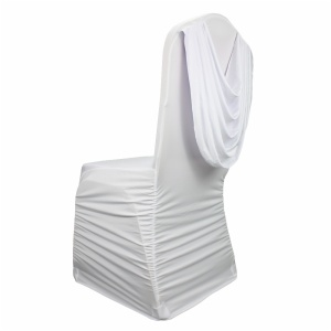 Cheap stretch ruffled swag valance spandex slipcovers chair covers for wedding events banquet