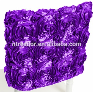 Polyester shining satin rosette chair cap chair hood for wedding decoration