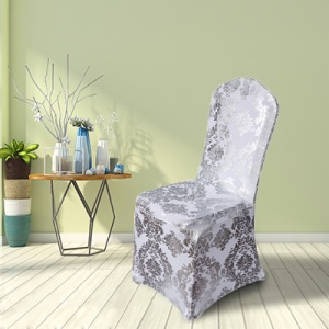 Gold Metallic Damask Spandex Banquet Chair Cover for sale